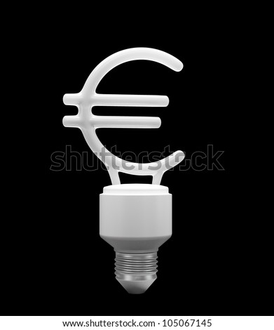 A energy saving bulb shaped like the Euro currency symbol