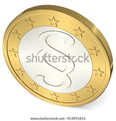 A Euro Coin with Paragraph Sign - 3d Illustration - stock photo