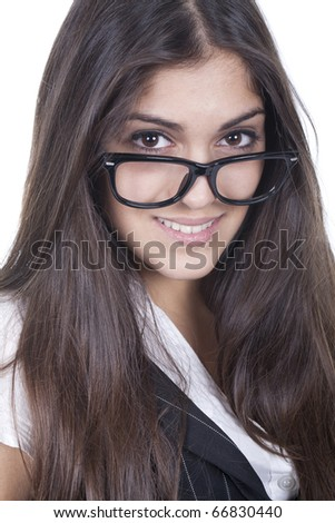 a executive and beautiful woman wearing glasses and smiling - stock photo