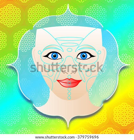 a face with massage zones on background with flower of live symbol - stock photo