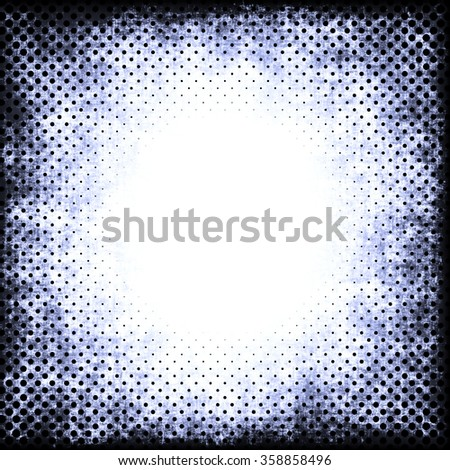 A faded grunge background in blue and black on white with halftone effect and copy space - stock photo