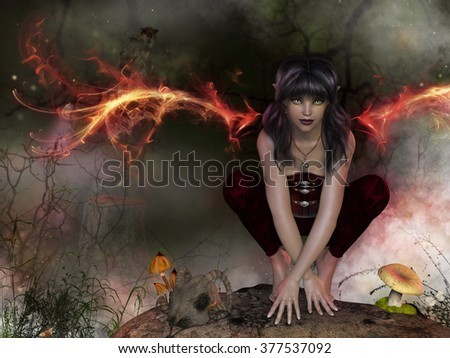 A fairy with flaming wings crouching on a rock in the forest. - stock photo