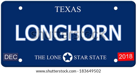 A fake imitation Texas License Plate with the word LONGHORN and The Lone Star State making a great concept.