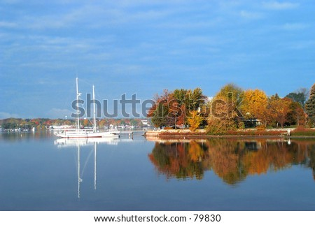 a Fall Day at Snug harbor in Sturgeon Bay in Door County, Wisconsin