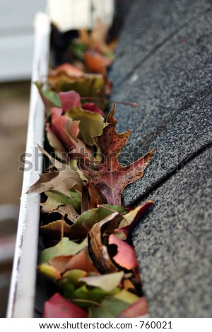 A fall tradition - cleaning the gutters of leaves. Here, we see them clogging the gutters of a traditional home. Could be used for advertising/clean up articles/etc. Narrow DOF - stock photo