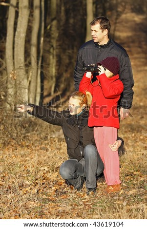 A family excursion useful, if you have  binoculars - stock photo