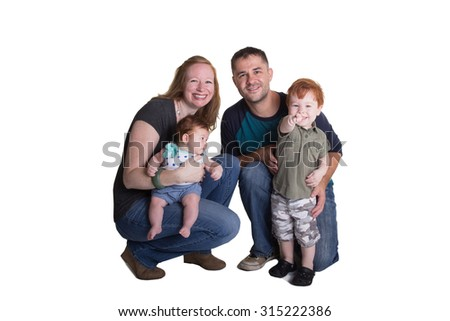 A family isolated on white  - stock photo