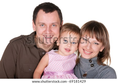 A family portrait of mom, dad and their daughter; isolated on the white background - stock photo