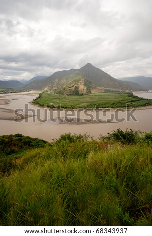 A famous bend of yangtze river in Autumn, Yunnan Province, China - stock photo