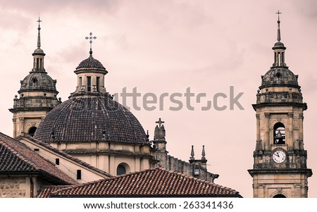 A famous cathedral in Bogota, Colombia, with a red sky behind it - stock photo