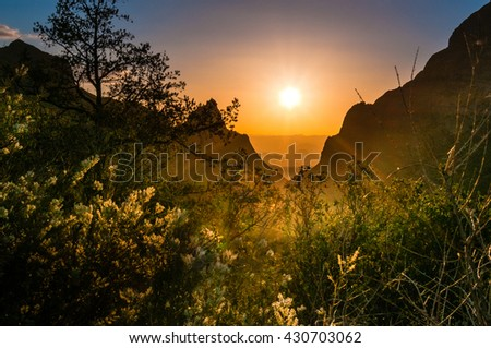 A famous view of The Window at Big Bend National Park during sunset in August with the sun illuminating the foliage in the foreground - stock photo