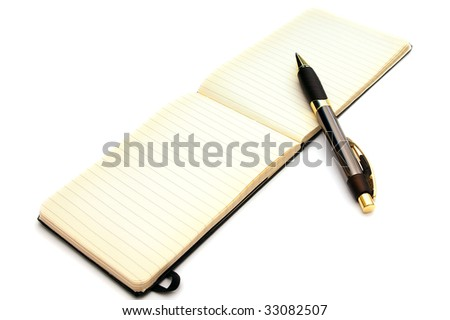 A fancy expensive pen is resting on an open old fashioned lined note pad with blank pages and slightly yellowed edges on white - stock photo