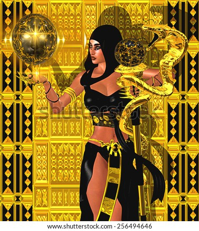 A fantasy art image of a magic woman with gold snake and mystical sphere of light. A black hood and outfit, she exudes mystery and magic. A gold and black background add to the wealth and power. - stock photo