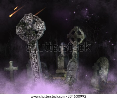 A fantasy background with purple fog and graveyard. - stock photo