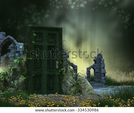 A fantasy background with ruins and doorway. - stock photo