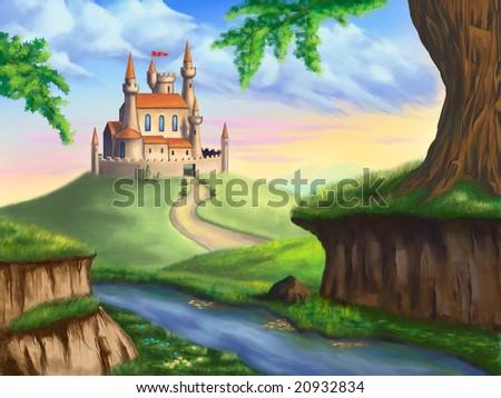 A fantasy castle in a gorgeous landscape. Original digital illustration. - stock photo