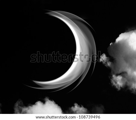 A fantasy cloudscape  a crescent moon between clouds. - stock photo