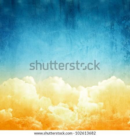 A fantasy cloudscape. Retro illustration on textured vintage paper - stock photo