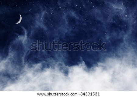 A fantasy cloudscape with stars and a crescent moon overlaid with a vintage, textured paper background. - stock photo