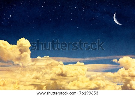 A fantasy cloudscape with stars and a crescent moon overlaid with a vintage, textured watercolor paper background.  Image displays paper grain and fibers at 100%. - stock photo
