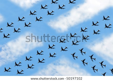 A fantasy for Future Air Traffic situation which is similar to land traffic nowadays - stock photo