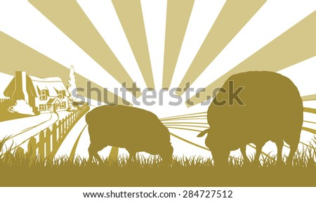 A farm house thatched cottage in an idyllic landscape of rolling hills with two sheep in silhouette standing in the foreground - stock photo