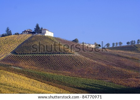 A farm overlooking the vineyards in autumn, Oltrepo Pavese, Italy. - stock photo