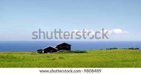 A farm standing by the ocean on Big Island, Hawaii - stock photo