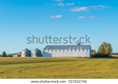 a farm with blue sky in summer time. - stock photo
