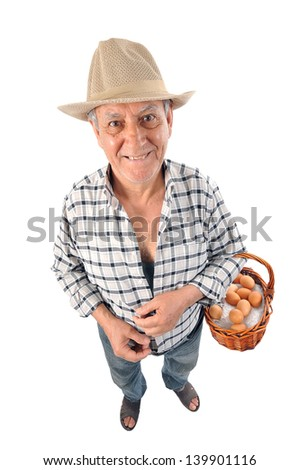 a farmer holds a traditional basket with eggs