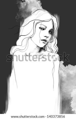 A fashion illustration sketch portrait of a young beautiful girl with long dark hair - stock photo