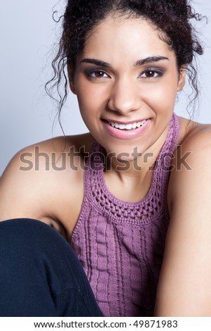 A fashion shot of a beautiful black woman - stock photo