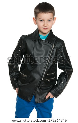 A fashion young boy on the white background