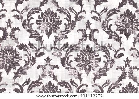 A fashionable modern black white floral wallpaper. - stock photo