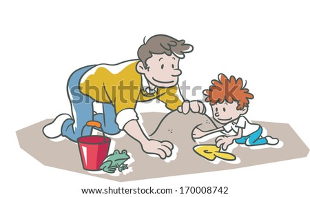 A father is helping his son make a sand castle. - stock photo