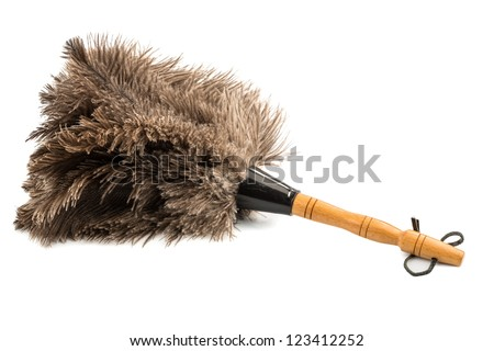 a feather duster against white background, symbol photo for cleanliness and care - stock photo