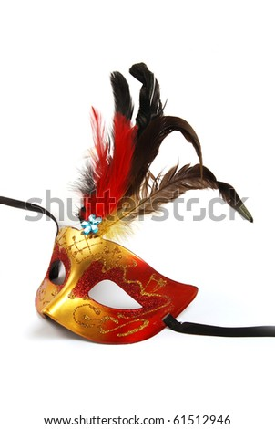A feathered mask isolated on a white background - stock photo