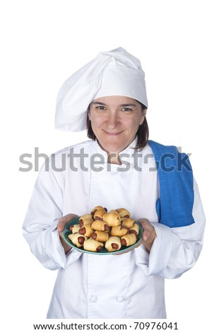 A female chef shows off her latest meal.  Isolated on white for designer convenience. - stock photo