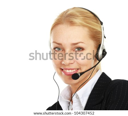 A female customer service consultant, closeup ,isolated on white background
