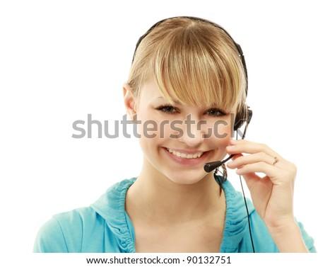 Female Customer Service Consultant Closeup Isolated Stock Photo ...