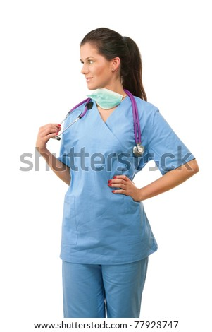 A female doctor looking to her right - stock photo