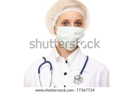 A female doctor wearing a bandage