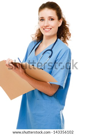 A female doctor with a folder , isolated on white background - stock photo