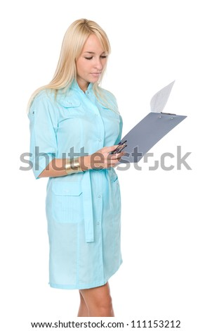 A female doctor with a folder, standing isolated on white background - stock photo
