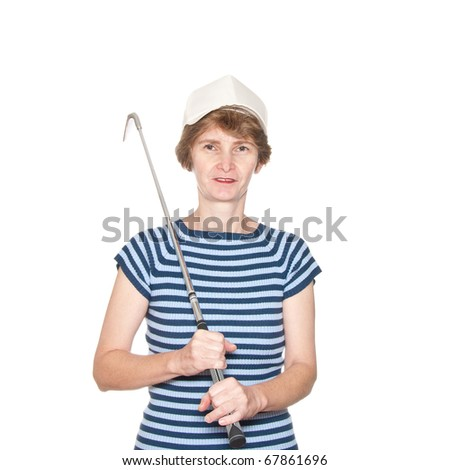 A female golf player isolated on white. - stock photo