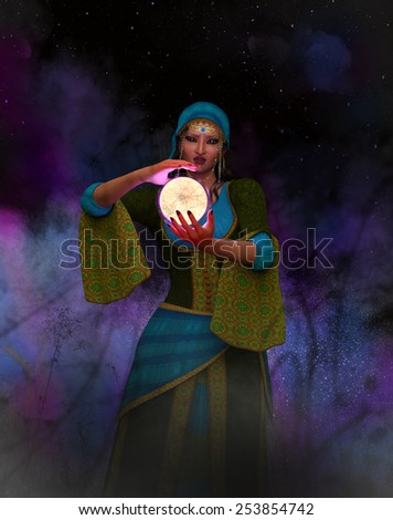 A female gypsy with magic crystal ball. - stock photo