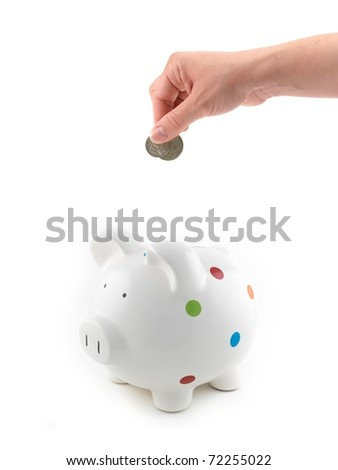 A female hand with coin and a piggy bank isolated against a white background - stock photo