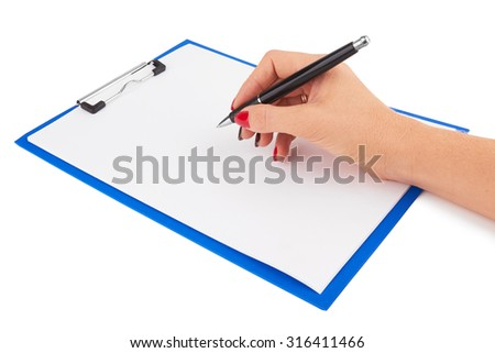 A female hand writes on clipboard with paper isolated white background