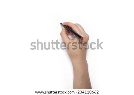 A female hands hold the pencil isolated white, top view at the studio.