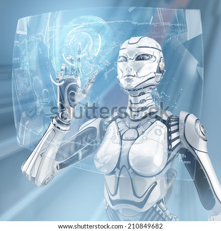 A female high detailed robot with internal cyber technology working with virtual interface screen - stock photo
